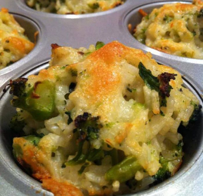 Baked Cheddar Broccoli Rice Cups